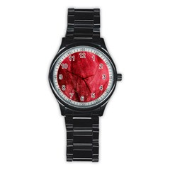 Red Background Texture Stainless Steel Round Watch