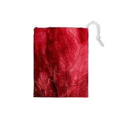 Red Background Texture Drawstring Pouches (Small)