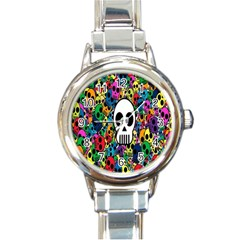 Skull Background Bright Multi Colored Round Italian Charm Watch