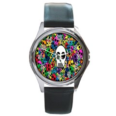 Skull Background Bright Multi Colored Round Metal Watch