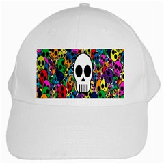 Skull Background Bright Multi Colored White Cap