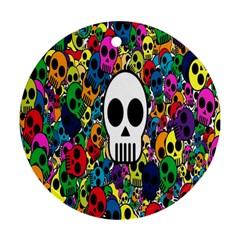 Skull Background Bright Multi Colored Ornament (round)
