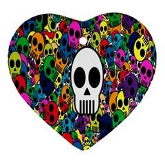 Skull Background Bright Multi Colored Ornament (heart)