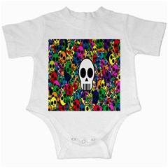 Skull Background Bright Multi Colored Infant Creepers