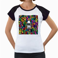 Skull Background Bright Multi Colored Women s Cap Sleeve T