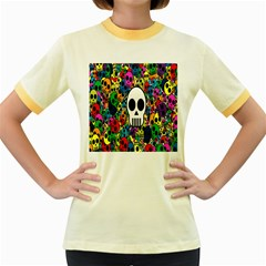 Skull Background Bright Multi Colored Women s Fitted Ringer T Shirts