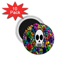 Skull Background Bright Multi Colored 1 75  Magnets (10 Pack)