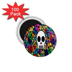 Skull Background Bright Multi Colored 1.75  Magnets (100 pack)