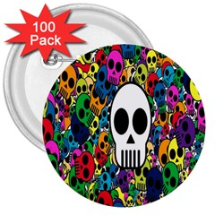 Skull Background Bright Multi Colored 3  Buttons (100 pack)