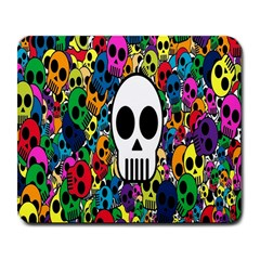 Skull Background Bright Multi Colored Large Mousepads