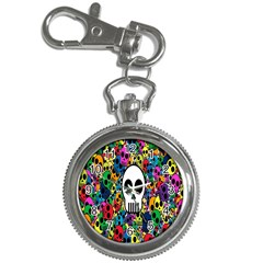 Skull Background Bright Multi Colored Key Chain Watches