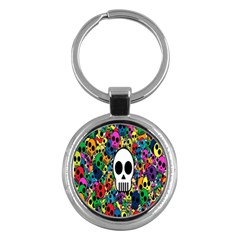 Skull Background Bright Multi Colored Key Chains (round)