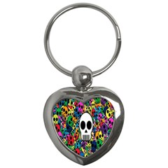 Skull Background Bright Multi Colored Key Chains (Heart)