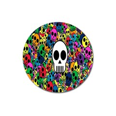 Skull Background Bright Multi Colored Magnet 3  (Round)