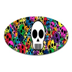 Skull Background Bright Multi Colored Oval Magnet