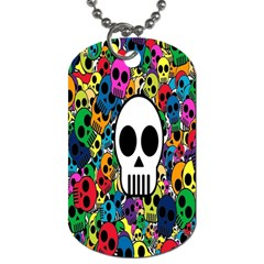Skull Background Bright Multi Colored Dog Tag (Two Sides)