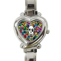 Skull Background Bright Multi Colored Heart Italian Charm Watch