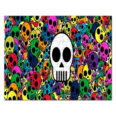 Skull Background Bright Multi Colored Rectangular Jigsaw Puzzl