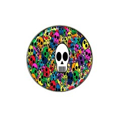 Skull Background Bright Multi Colored Hat Clip Ball Marker (10 Pack)
