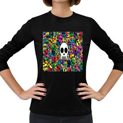 Skull Background Bright Multi Colored Women s Long Sleeve Dark T Shirts