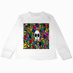 Skull Background Bright Multi Colored Kids Long Sleeve T Shirts