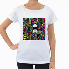 Skull Background Bright Multi Colored Women s Loose-Fit T-Shirt (White)