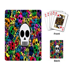 Skull Background Bright Multi Colored Playing Card