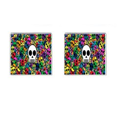 Skull Background Bright Multi Colored Cufflinks (Square)
