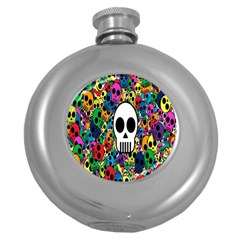 Skull Background Bright Multi Colored Round Hip Flask (5 Oz)