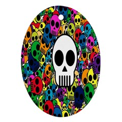 Skull Background Bright Multi Colored Oval Ornament (Two Sides)