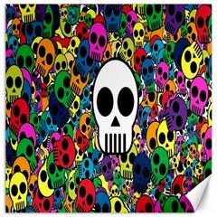 Skull Background Bright Multi Colored Canvas 16  X 16