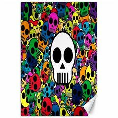 Skull Background Bright Multi Colored Canvas 24  X 36