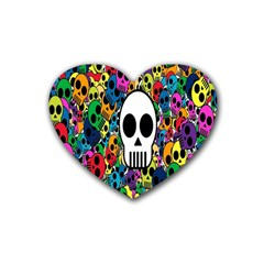 Skull Background Bright Multi Colored Heart Coaster (4 pack)
