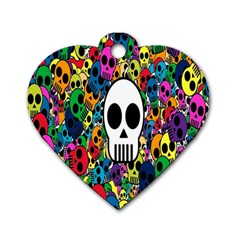 Skull Background Bright Multi Colored Dog Tag Heart (One Side)