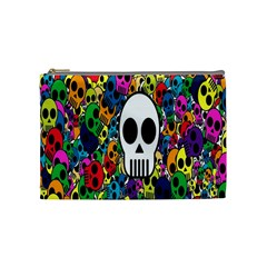 Skull Background Bright Multi Colored Cosmetic Bag (medium)