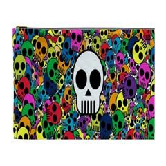 Skull Background Bright Multi Colored Cosmetic Bag (xl)