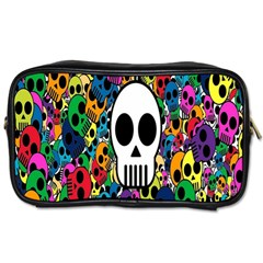 Skull Background Bright Multi Colored Toiletries Bags 2-Side