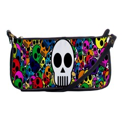 Skull Background Bright Multi Colored Shoulder Clutch Bags