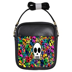 Skull Background Bright Multi Colored Girls Sling Bags
