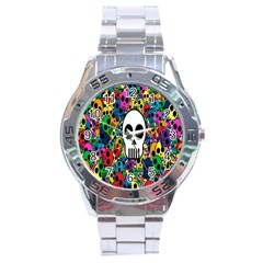 Skull Background Bright Multi Colored Stainless Steel Analogue Watch
