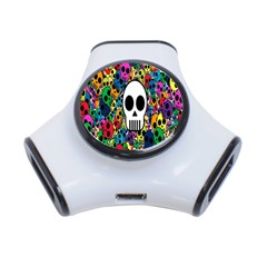 Skull Background Bright Multi Colored 3-Port USB Hub