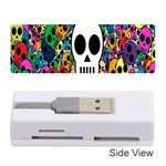 Skull Background Bright Multi Colored Memory Card Reader (Stick)  Front