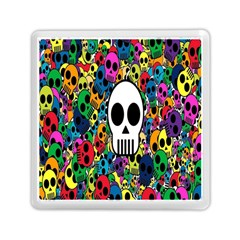 Skull Background Bright Multi Colored Memory Card Reader (square)