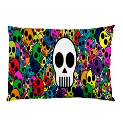 Skull Background Bright Multi Colored Pillow Case (Two Sides)