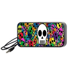 Skull Background Bright Multi Colored Portable Speaker (Black)