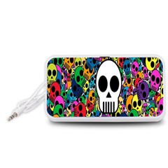 Skull Background Bright Multi Colored Portable Speaker (White)
