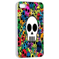 Skull Background Bright Multi Colored Apple iPhone 4/4s Seamless Case (White)