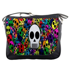 Skull Background Bright Multi Colored Messenger Bags