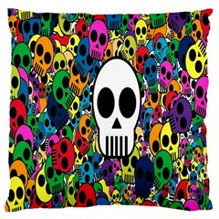 Skull Background Bright Multi Colored Large Cushion Case (One Side)