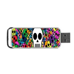 Skull Background Bright Multi Colored Portable Usb Flash (two Sides)